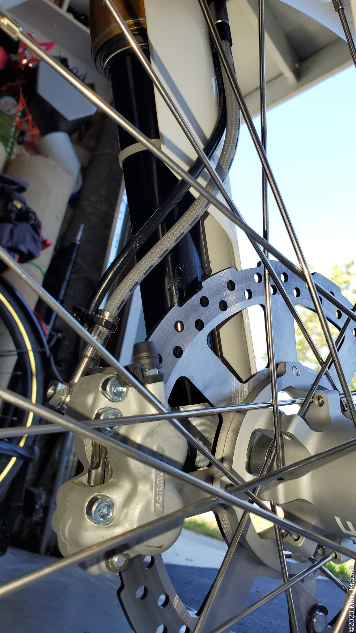 Closeup of Kalk spokes and brake disc