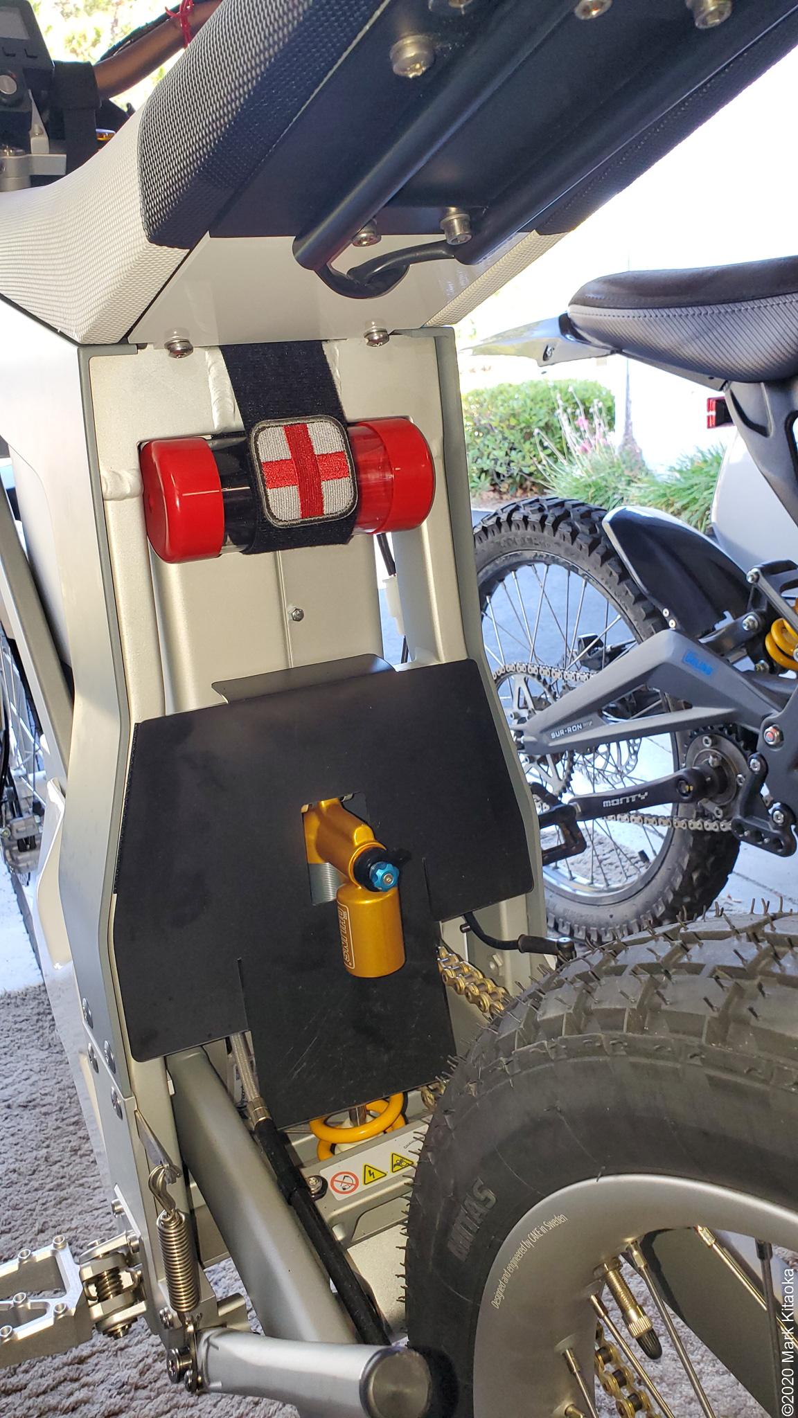 First aid kit on back of Kalk bike
