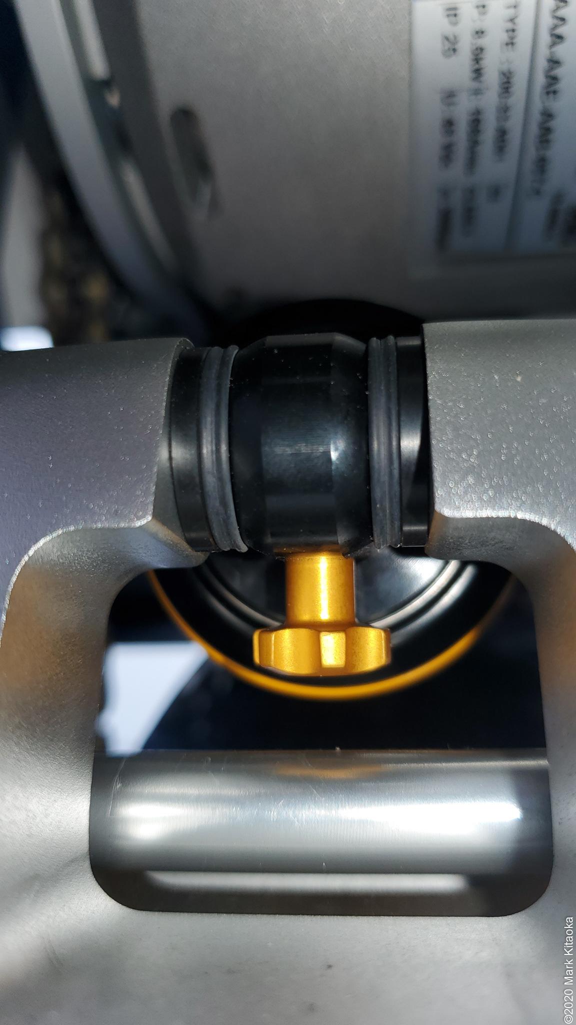 Close up of Ohlins adjustment knob