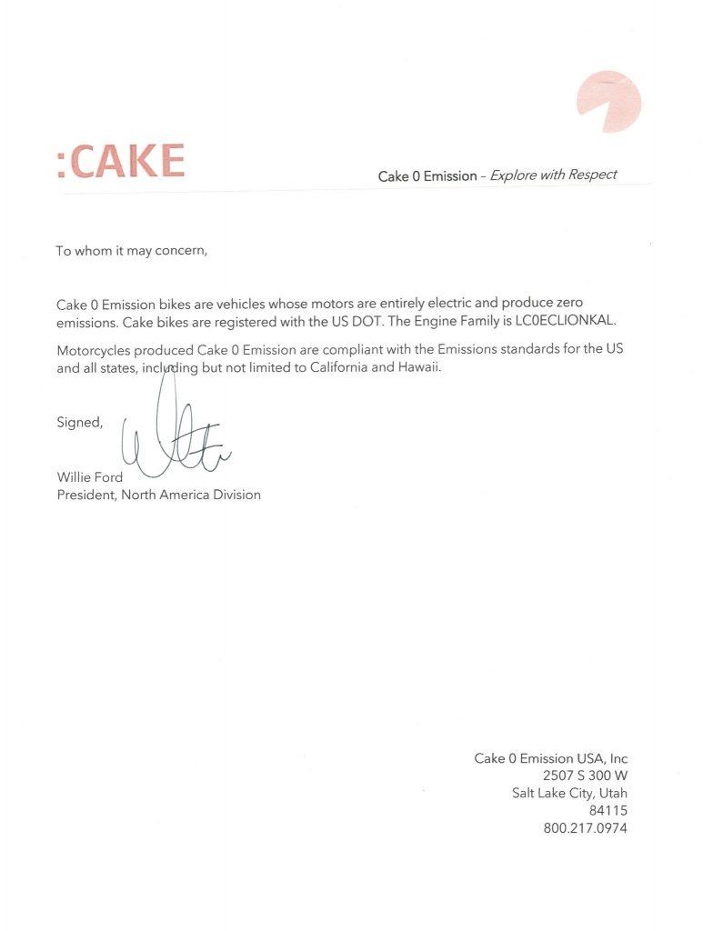 Letter from CAKE President Willie Ford