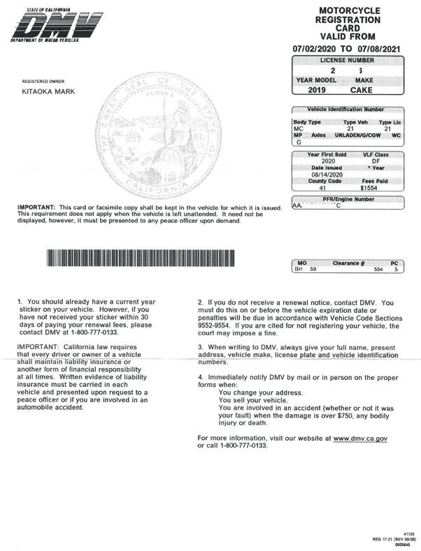 DMV letter for Kalk bike