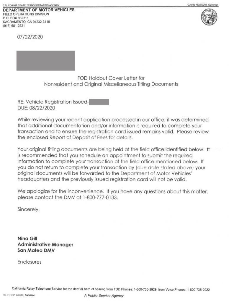 DMV registration letter