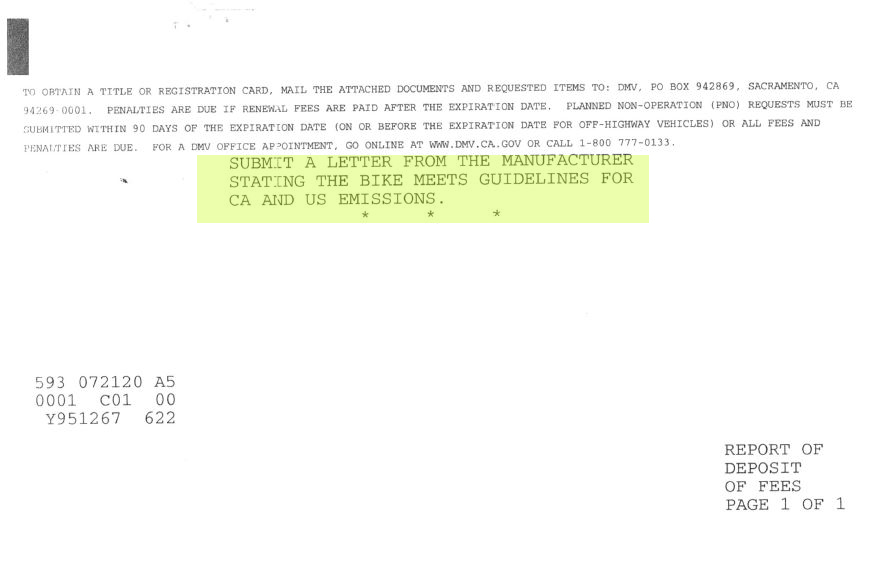 DMV letter asking for Kalk emissions specifications