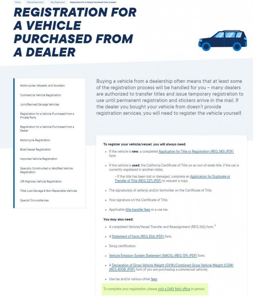 DMV website registration instructions