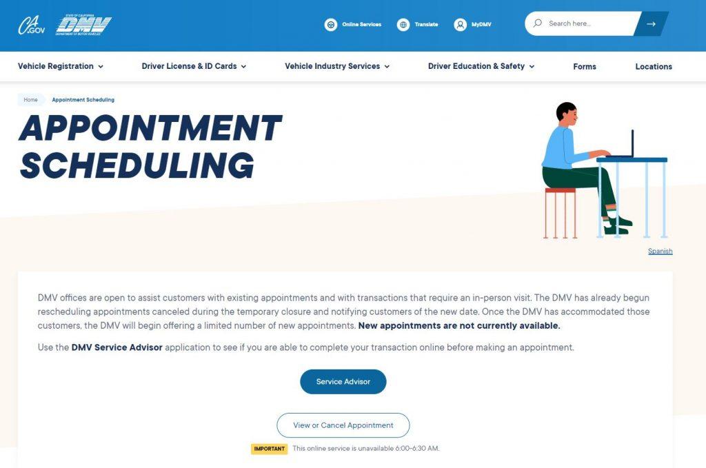 DMV appointment scheduling website