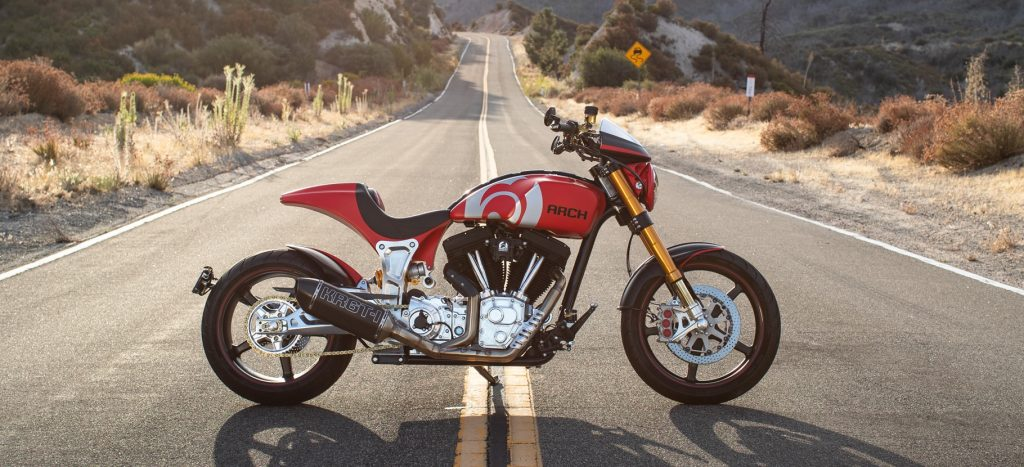 Red ARCH KRGT-1 parked in middle of the road