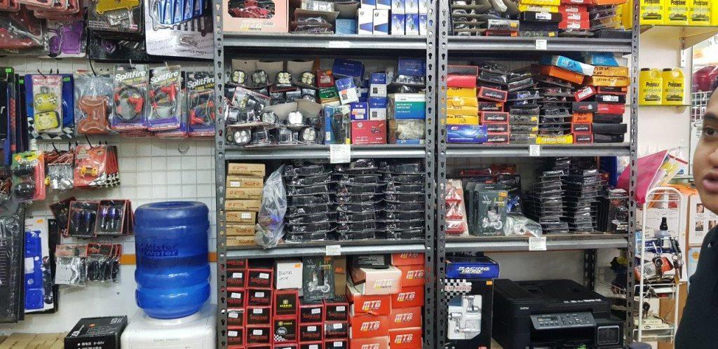 various auto parts on shelf