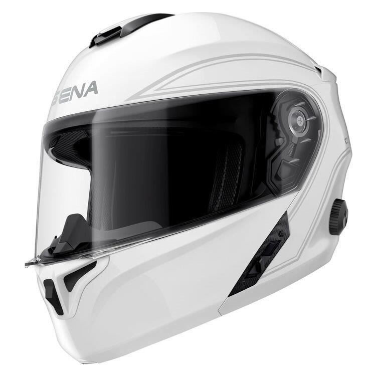 Gloss white Sena Outrush Modular Helmet