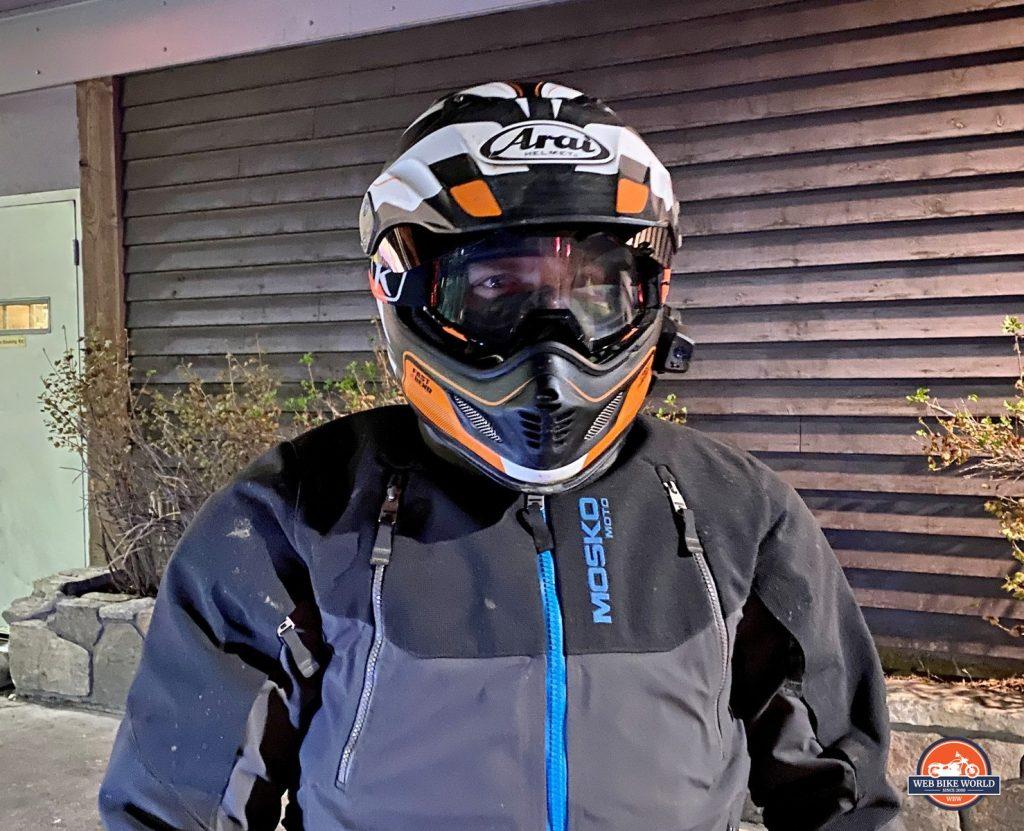 Jim Pruner wearing the Arai XD-4 with Klim Viper goggles and a Mosko Moto Basilisk jacket.