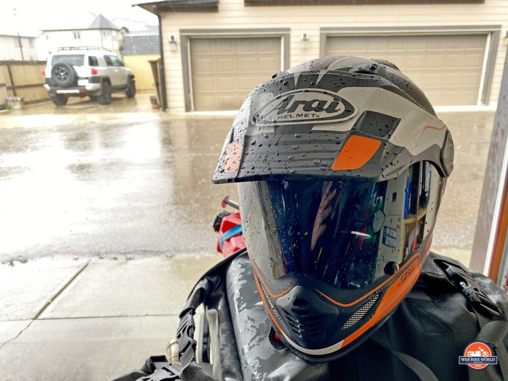 The Arai XD-4 with beading water on it after riding in the rain.