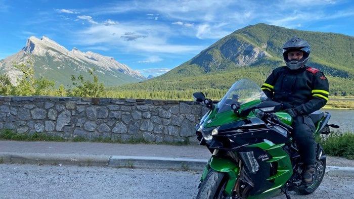 Me on my Kawasaki Ninja H2SX SE while wearing the Shoei Hornet X2 helmet near Banff, Alberta.
