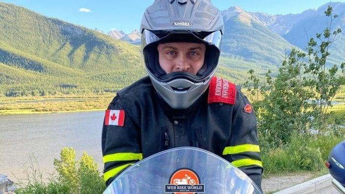 Jim Pruner wearing the Shoei Hornet X2 helmet and a Motoport USA jacket near Banff, Alberta.