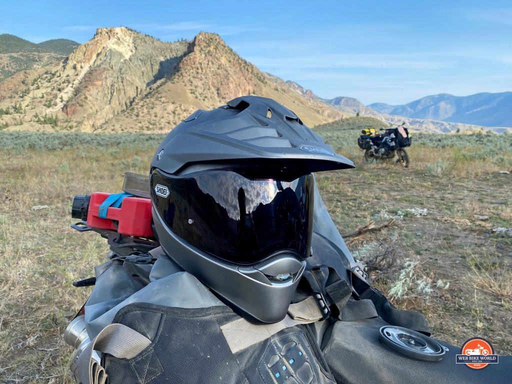 The Shoei Hornet X2 off road sitting on Mosko Moto luggage.
