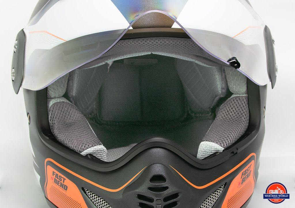 The interior of the Arai XD-4 helmet is shown looking inwards from the eyeport.
