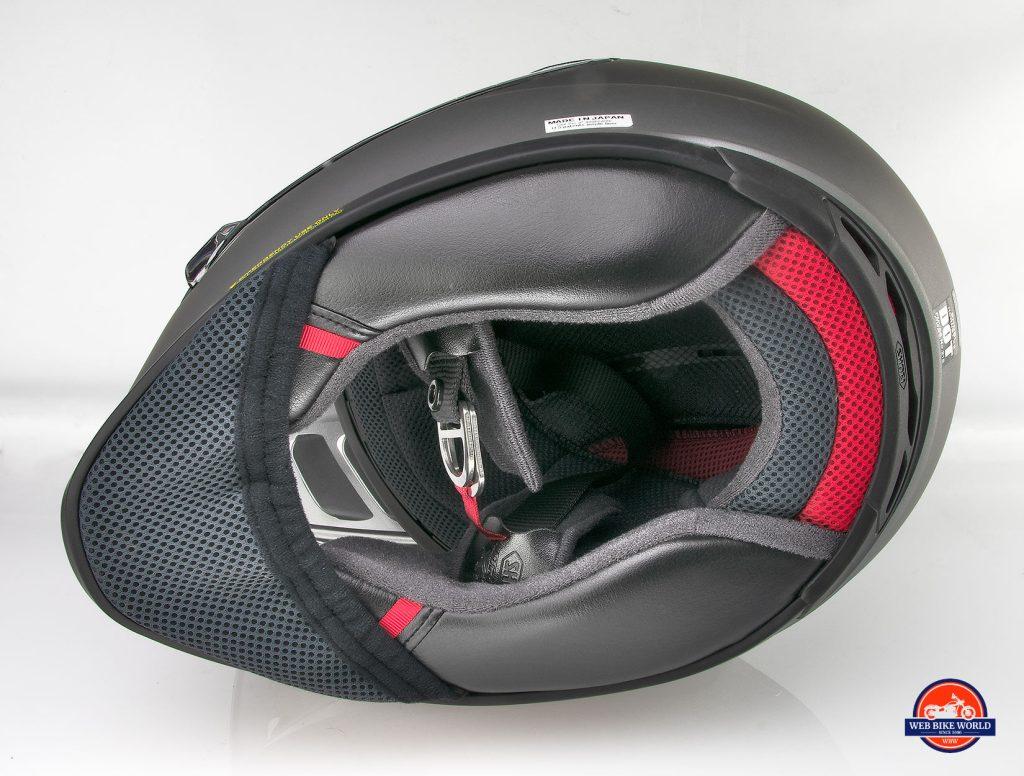The neckroll opening on the Shoei Hornet X2 helmet.