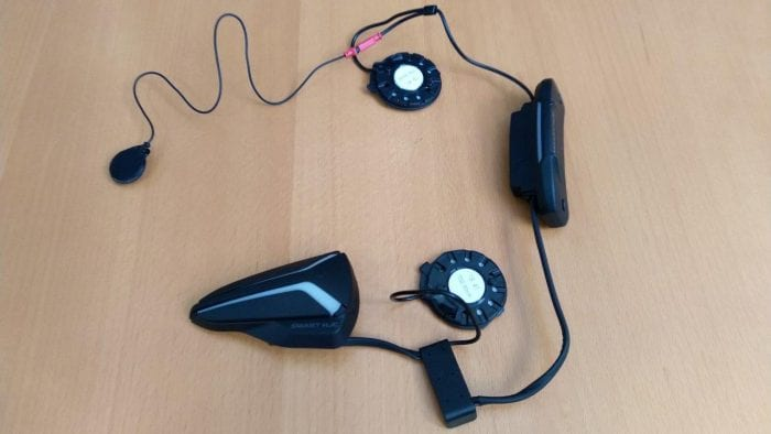 Smart HJC 20B Bluetooth Headset assembled on tabletop