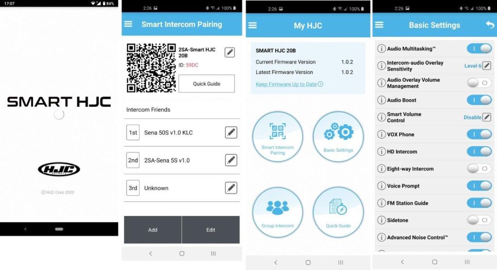 Smart HJC app screenshots