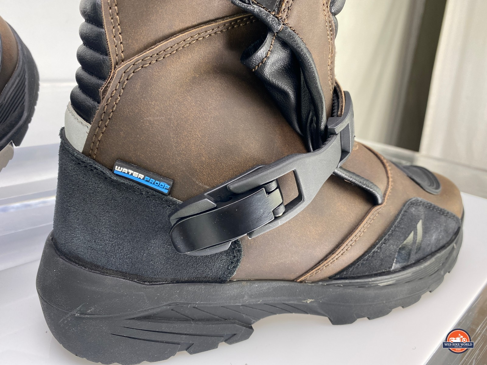 The right side latch closed on the Joe Rocket Canada Whistler Adventure boots.
