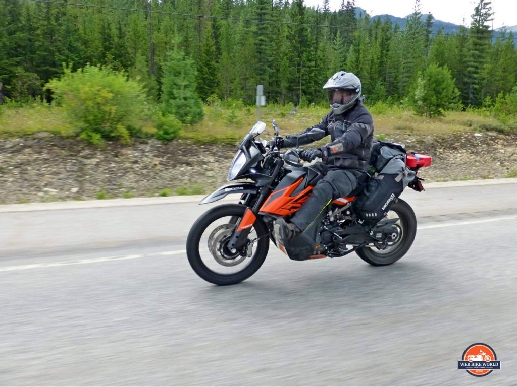 Jim Pruner riding a 790 adventure while wearing the Joe Rocket Canada Whistler Adventure boots.
