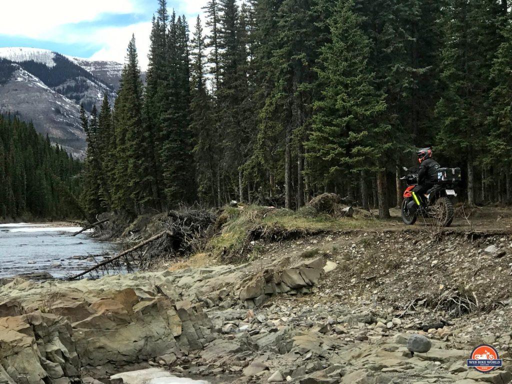 Jim Pruner on his KTM 790 Adventure riding off road near Yaha Tinda Ranch, Alberta.