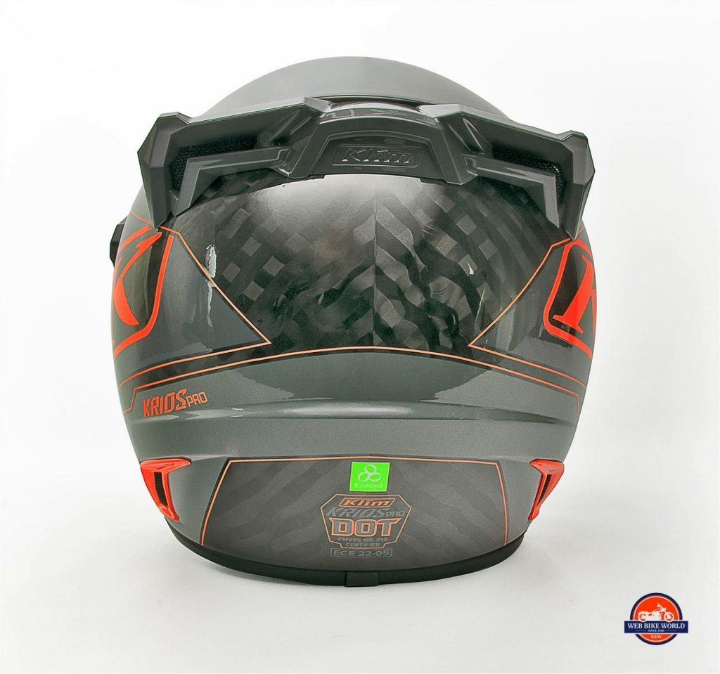 Wavy patterns of carbon fiber material on the back of the Klim Krios Pro helmet.
