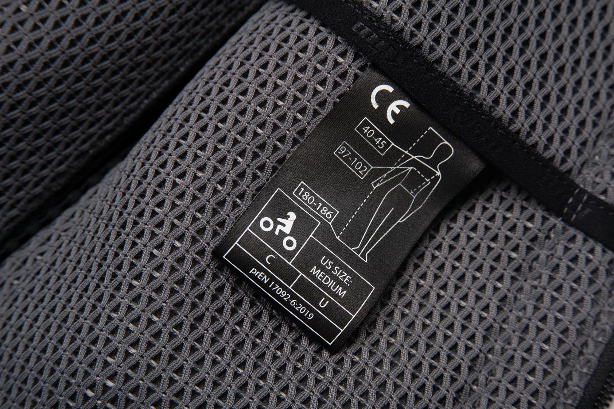 CE level 1 label for Klim Ai-1 airbag vest