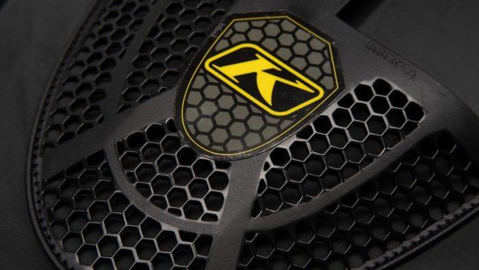 Closeup logo of Klim Ai-1 airbag vest