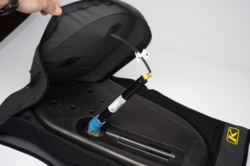 View of Klim Ai-1 airbag vest back protector and argon gas cartridge