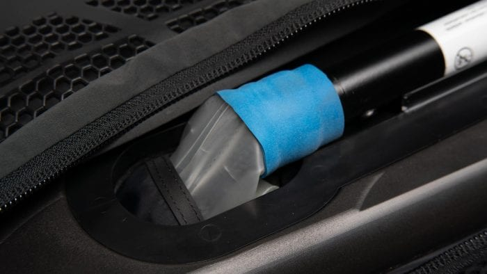Closeup of Klim Ai-1 Airbag Vest gas generated and airbag connection.