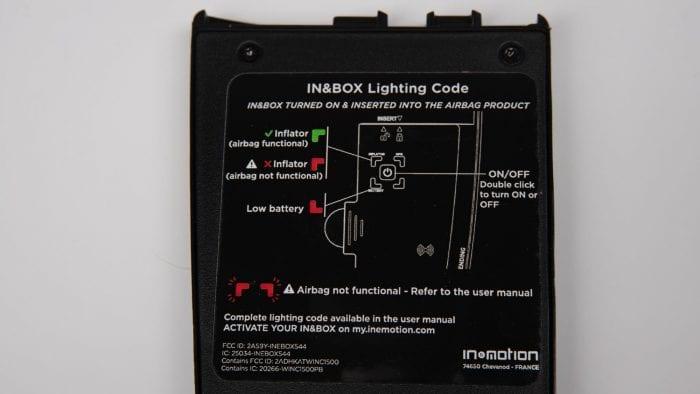 In&box lighting legend on back of module