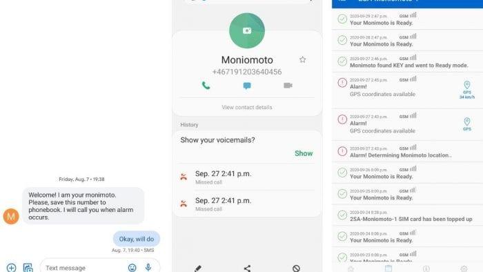 Monimoto GPS Tracker firmware screen