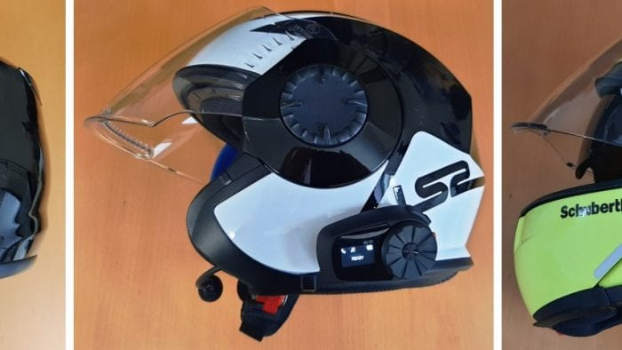 Sena 5S Bluetooth System installed on various helmets
