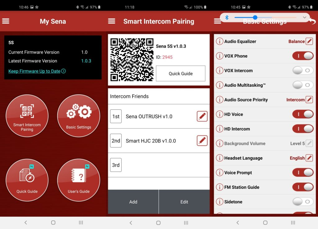 Sena 5S Bluetooth System software settings