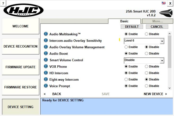 Smart HJC Device Manager software screen