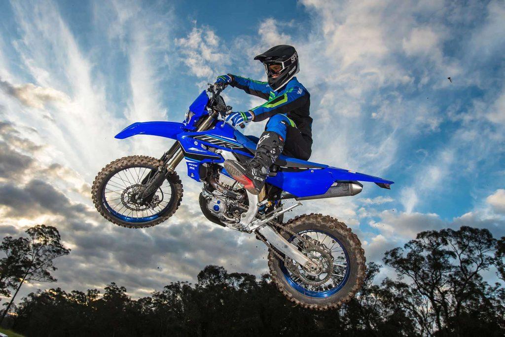 2021 Yamaha WR450F, blue. Flying high.