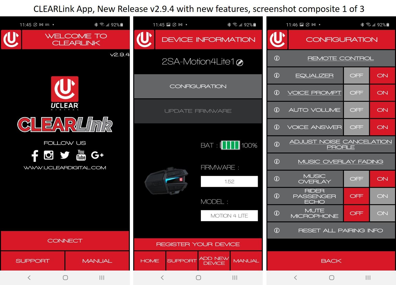 CLEARlink App software screens
