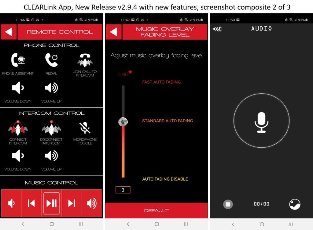 CLEARlink app audio settings screen