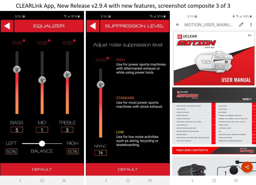 CLEARlink app equalizer settings
