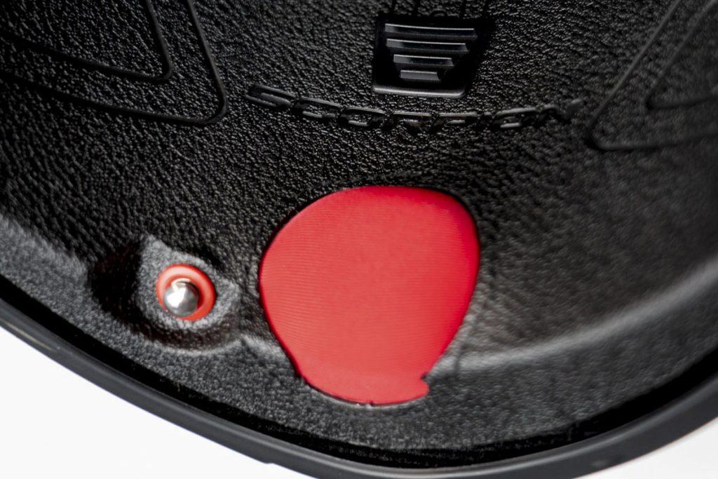 Closeup of chinbar on helmet