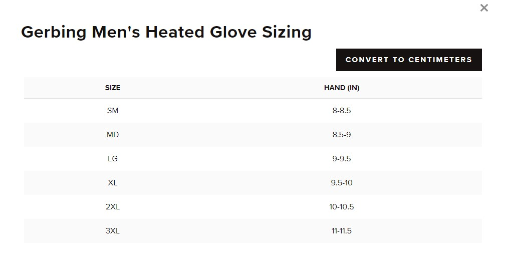 The sizing chart for Gerbing Heated Gloves.