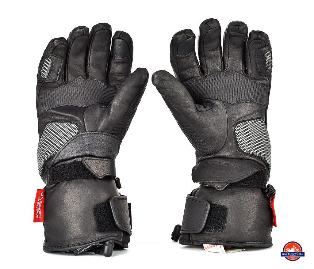 The Gerbing Vanguard heated motorcycle gloves underside view.