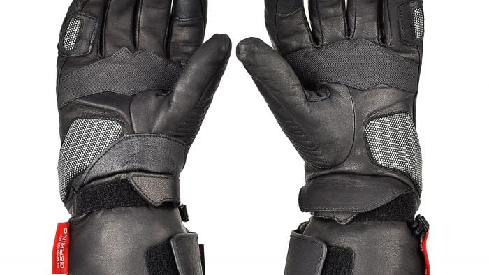 The Gerbing Vanguard heated motorcycle gloves underside view.