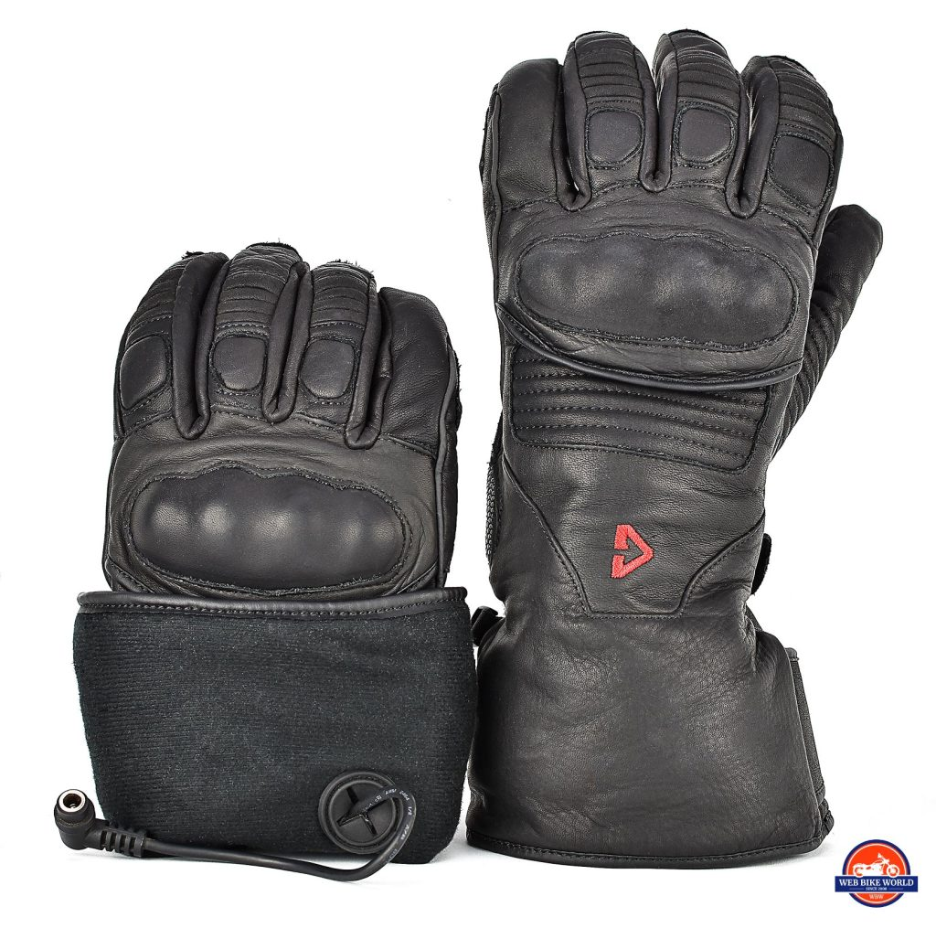 The interior of the Gerbing Vanguard heated motorcycle gloves.