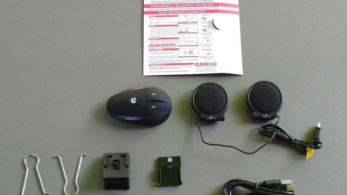Box contents of UClear AMPGo2 laid out