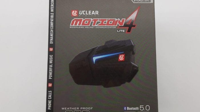 Retail packaging for UClear Motion 4 Life Bluetooth intercom