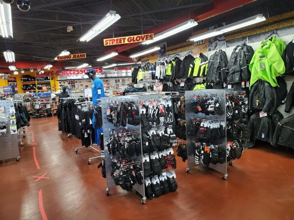 Motorcycle gear shop with various gear for sale
