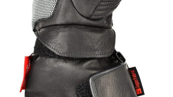 The leather flap for covering the velcro strap on the Gerbing Vanguard gloves.