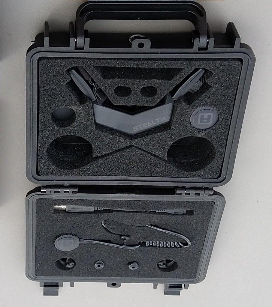 Close up shot of iASUS Stealth Throat microphone carrying case