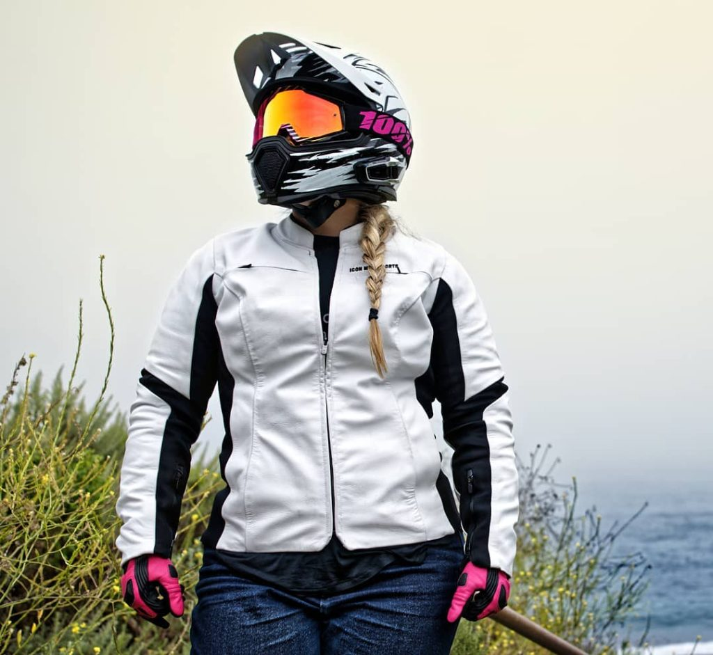 Female rider wearing Icon Overlord Leather jacket
