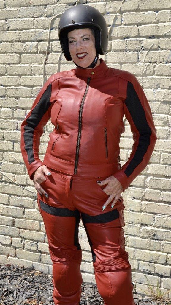 Female rider wearing Raven Rova Phoenix Leather jacket